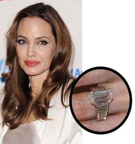 One of Hollywood's power couples Angelina Jolie and Brad Pitt finally announced their engagement in April, 2012. The square diamond is set in a ribbed ring.