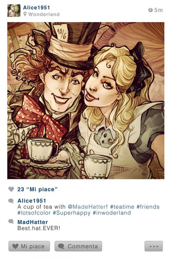 Les personnages Disney sur Instagram - Alice et le Chapelier
