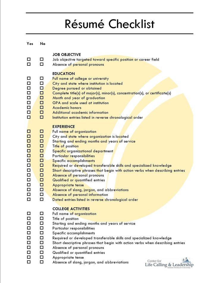 Comprehensive Resume Checklist Sample - Comprehensive Resume Checklist  Sample will give ideas and strategies to develop