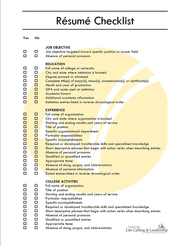 comprehensive resume checklist sample