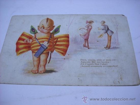 POSTAL. J. IBAÑEZ: CUPIDO. CON BANDERA CATALANA. EDI. VICTORIA Nº 883. ESCRITA EN 1922. ALGO SOBADA. (Postales - Niños)