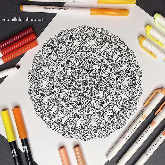 ║F R E E 🌸 P R I N T A B L E 🌸C O L OR I N G P A G E║  It's time for another MANDALA MONDAY. Every monday I share a free printable download of a mandala (for personal use only). Link in bio. I would love to see what you do with my drawings, whether it is adding color, details or something else. Be creative! ✨