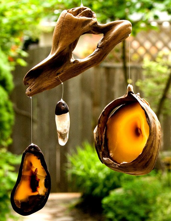 Driftwood sun catcher / mobile, agates , crystals.  FREE SHIPPING in US and Canada. $46.00, via Etsy.