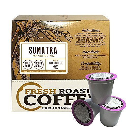 Sumatra Mandheling Single-Serve Coffee Pods, 18 Capsules for Keurig K-Cup Brewers, Fresh Roasted Coffee LLC. (18 Count) ** To view further for this article, visit the image link.