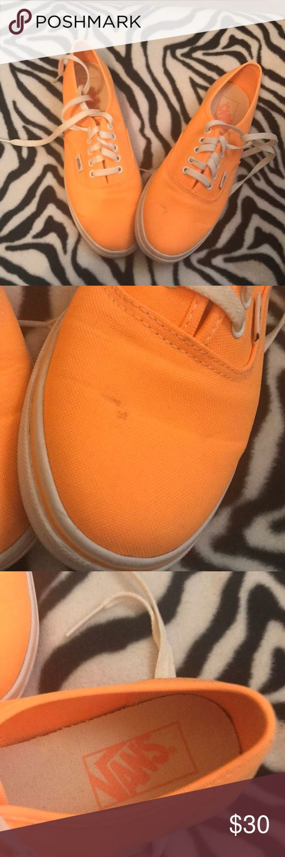 Neon Orange Vans Sneakers Neon Orange Vans. Slight mark on the front as shown in the photo other than that they are in great condition Vans Shoes Sneakers