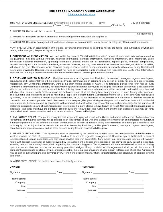 Download a free Non-Disclosure Agreement (NDA) or confidentiality agreement template for Microsoft Word. Downloads for both unilaterial and mutual non-disclosure.