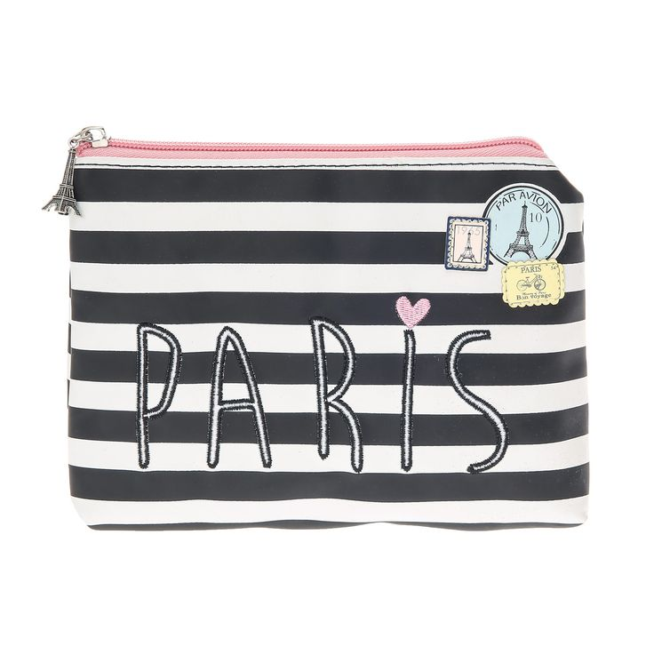 Paris Striped Cosmetic Bag, all, Accessories, Make Up, Cosmetics Bags Fashion trends, accessories and jewellery for young women