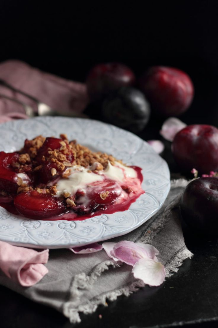 Poached vanilla and cardamon plums with oat crumble | fruit ...