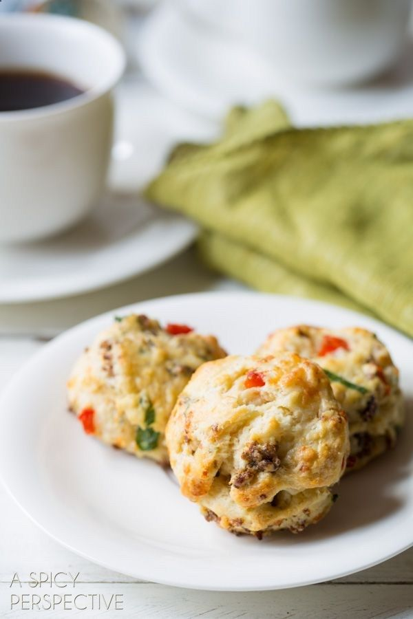 Savory Breakfast Scone Recipe with sausage, cheese, and red peppers.