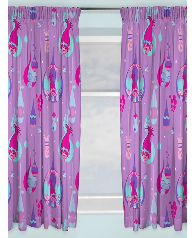 These fantastic Trolls readymade curtains will add the perfect finishing touch to any Trolls themed room. The curtains feature favourites Poppy, Satin and Chenille on a purple background. Other matching items are also available