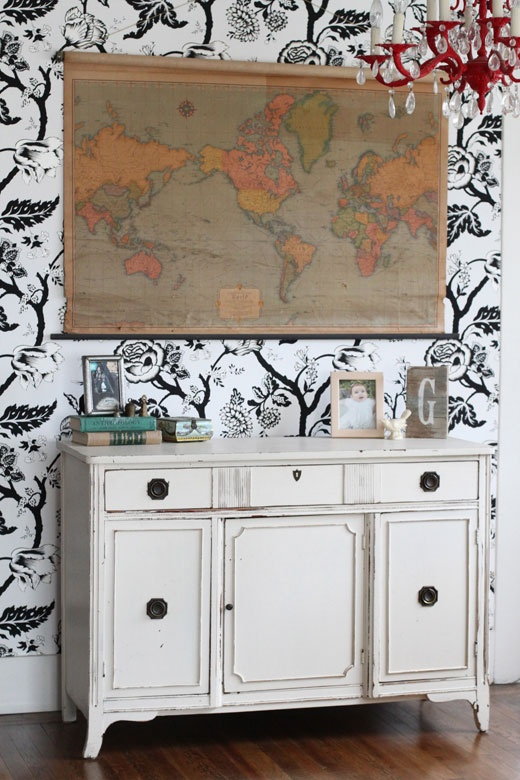 Vintage Wall Map Red Chandelier White Painted Buffet Dining Room Decor