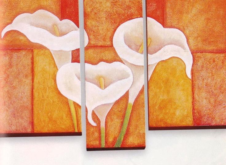 Solountip.com: Haz un cuadro en 3 partes, pinta un trío de flores de alcatraces o calas