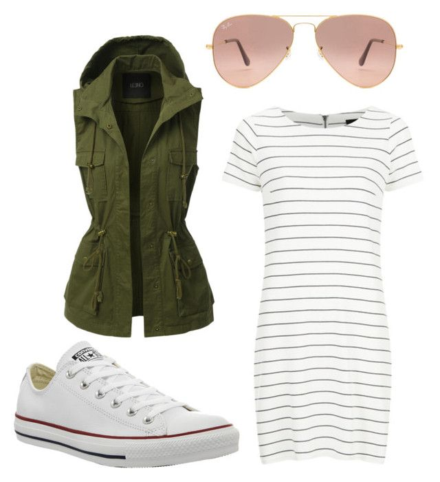 """""""Untitled #357"""" by hellan2fashion on Polyvore featuring LE3NO, VILA, Converse and Ray-Ban"""