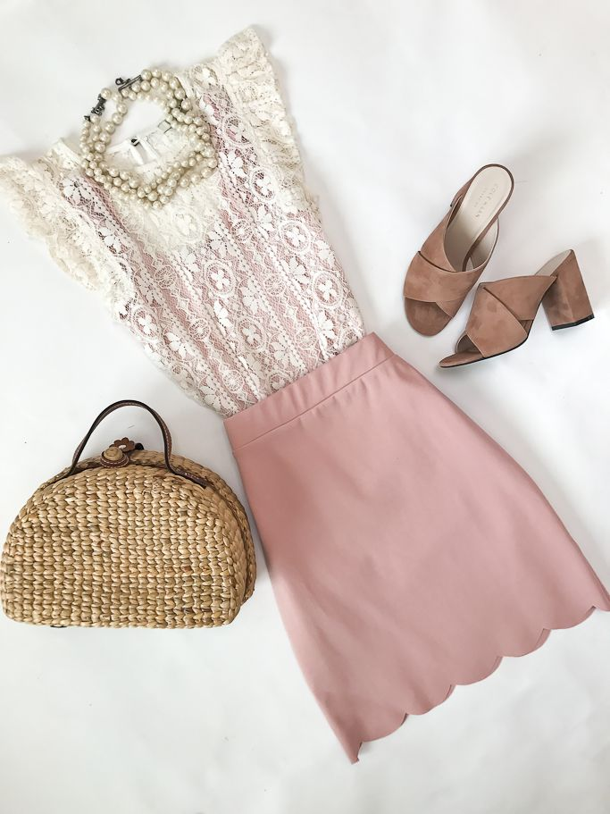 scalloped skirt, picnic basket straw bag, pink suede slides mules, lace top, spring outfit, summer outfit, work outfit