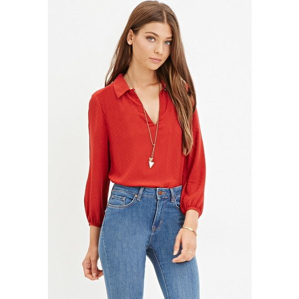 Forever 21 Forever 21 Women's  Tonal Chevron Blouse ($23) ❤ liked on Polyvore featuring tops, blouses, 3/4 sleeve tops, chevron top, chevron blouse, red chevron top and forever 21