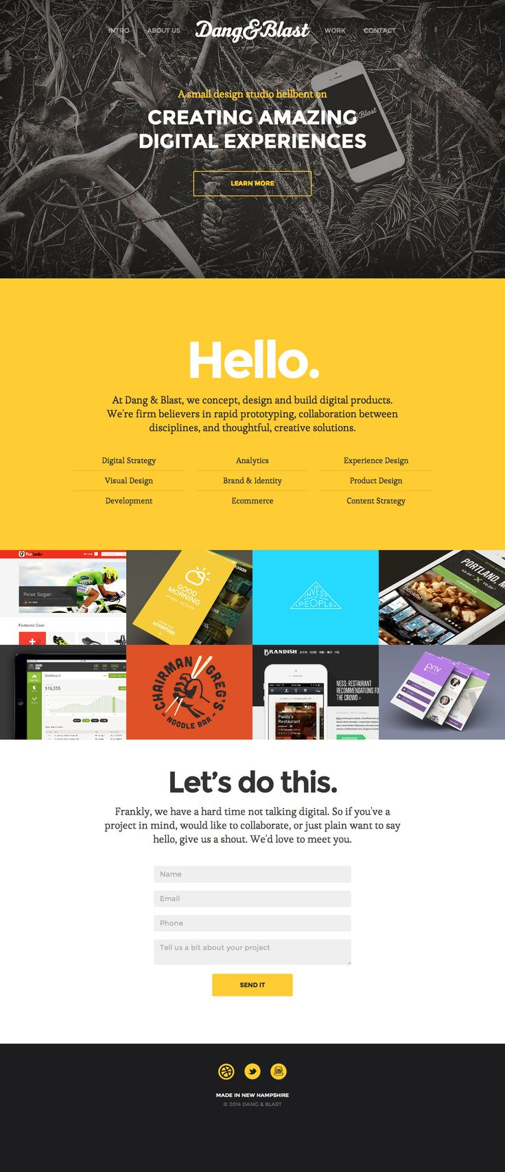 Responsive one pager for New Hampshire based design studio 'Dang & Blast' featuring an AJAX loading portfolio section.