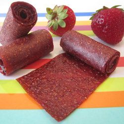 Strawberry Fruit Leather      3 c strawberries      1 T honey  Preparation      1. Preheat oven to 250.      3. Pureey strawberries & honey      4. Pour mixture onto parchment paper lined baking sheet and spread in a large rectangle      5. Bake for 2-3 h
