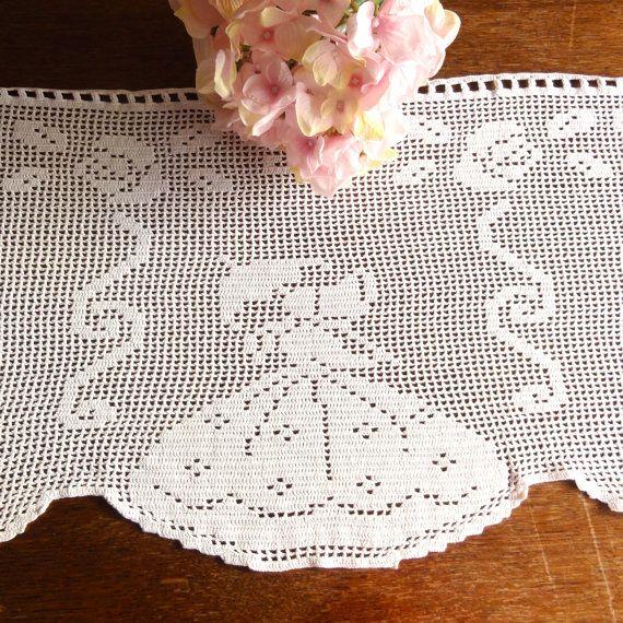 Dutch Crochet Curtains Filet Valance Vintage By