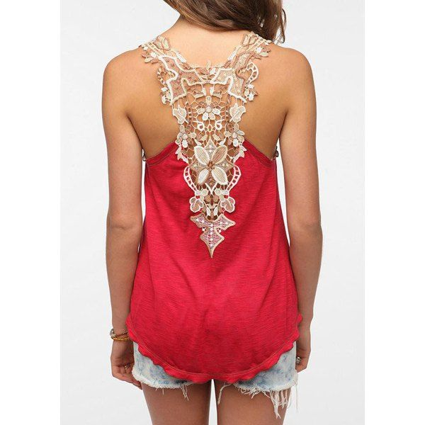 Wholesale Sweet Scoop Neck Sleeveless Back Openwork Lace Backless Tank Top For Women Only $3.56 Drop Shipping | TrendsGal.com