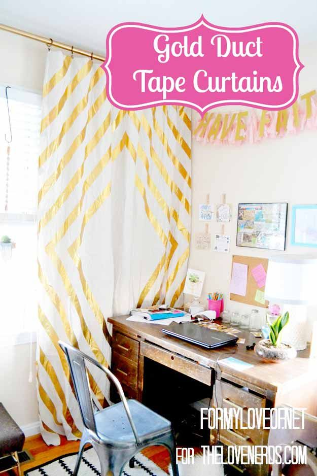 Cute DIY Room Decor Ideas for Teens - Best DIY Room Decor Ideas from Pinterest, Youtube and Top DIY Blogs - Gold Duct Tape Curtains
