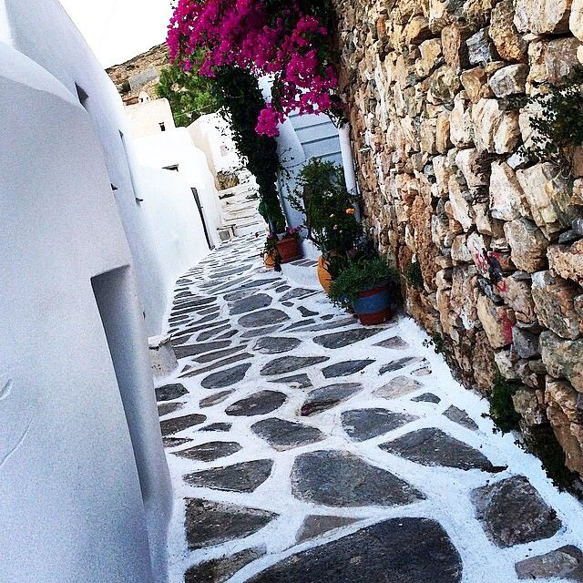 Wonderful cycladic street in Sikinos island (Σίκινος) ❤️. Very beautiful and colorful flowers over the white houses ...