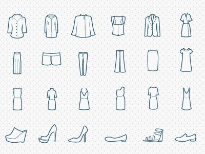 Types of clothing icons  by Jose Gonzalez