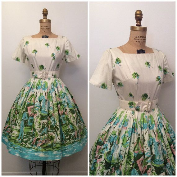 Vintage 1950's Scenic Novelty Print Dress by CreatedAndCollected