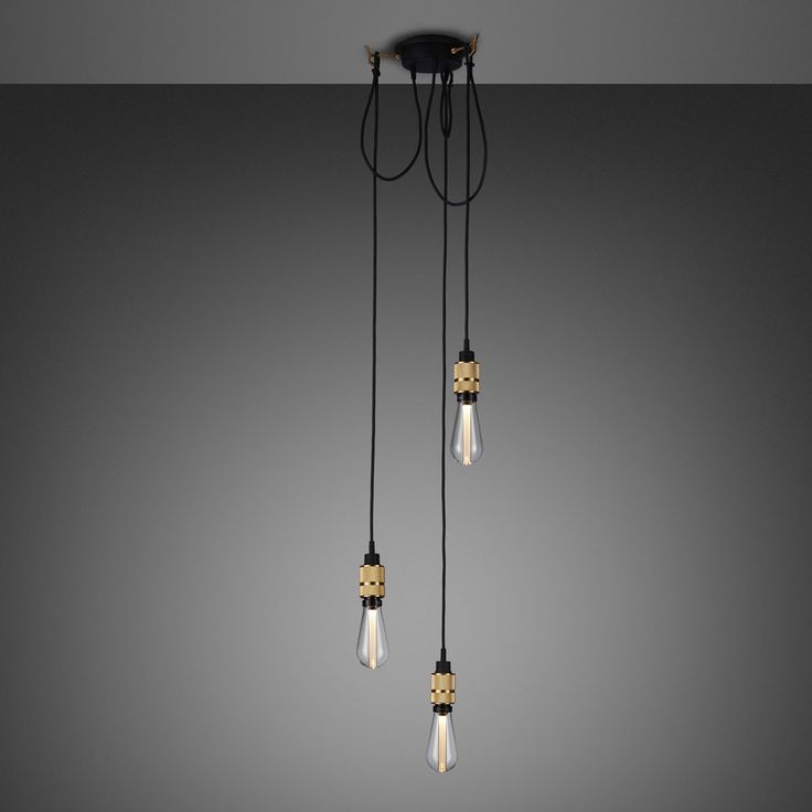 A ceiling light with threelight pendants,made from solid metal with matt rubber detailing. Each pendant length can be adjusted and hooked onto a solid...