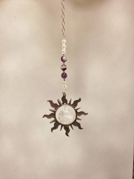 Rear View Mirror Crystal Car Charm Pewter Sun by MyCrystalForest