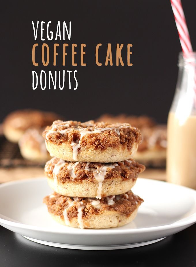 EASY VEGAN COFFEE CAKE DONUTS June 4, 2017 By Nicole Leave a Comment (Edit)  13 4.41k This is an easy and delicious take on a classic. These vegan coffee cake donuts pack all the flavour of coffee cake, in donut form! Topped with an amazing cinnamon streusel, these are the coffee cake lovers ultimate dream.