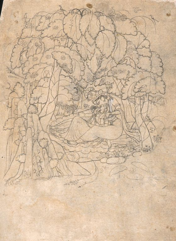 Krishna and Radha in a Grove. Ink and opaque watercolor on paper,  India, Himachal Pradesh, Kangra, ca. 1800, LACMA