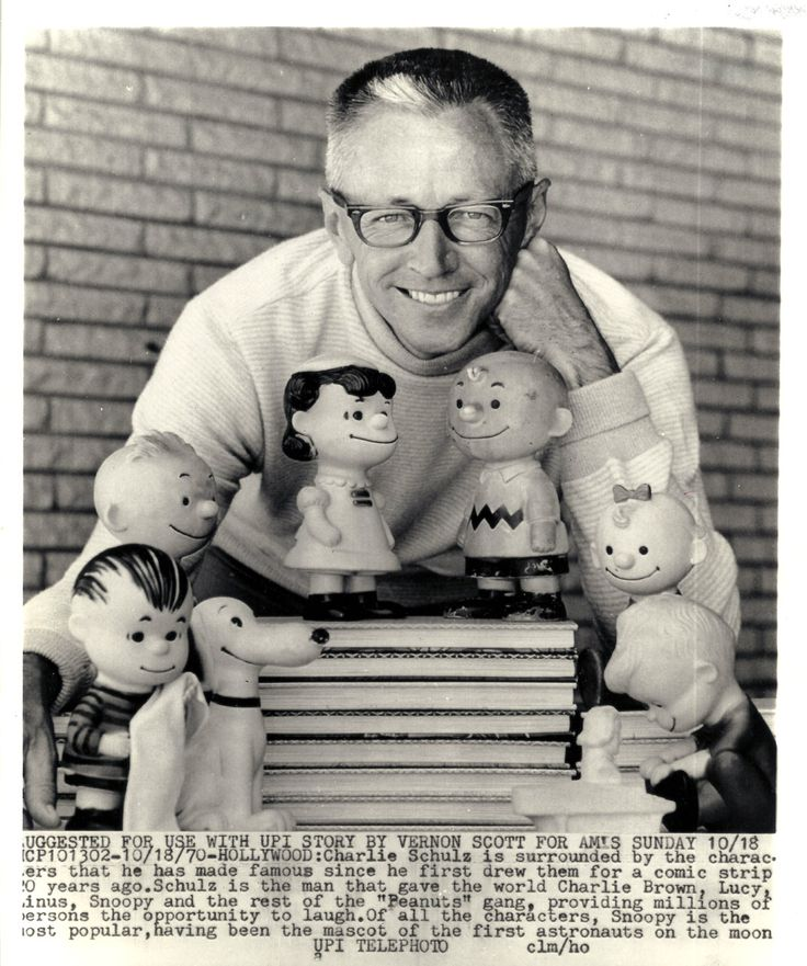 Charles Schulz and his Charlie Brown family