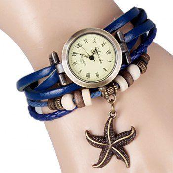 Mujeres reloj pulsera con estrellas de mar y Diseño de cuero correa