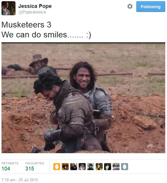 The Musketeers - Series III BtS filming via Jessica Pope's Twitter (D'Artagnan & Porthos)