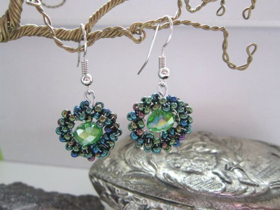 Green Drop Earrings Swarovski Green Dangle by MARTINELICRYSTALS