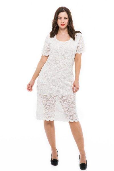 648fe5a5f0 Fehér csipkés alkalmi ruha esküvőre, partykra, szilveszterre. Ez a csipkés  alkalmi ruha teltkarcsúaknak