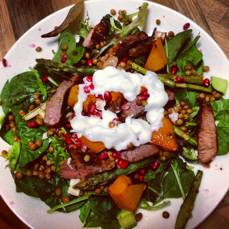 Amazing @Michelle Bridges Warm Lamb Pumpkin & Pomegranate Salad with Yoghurt Dressing