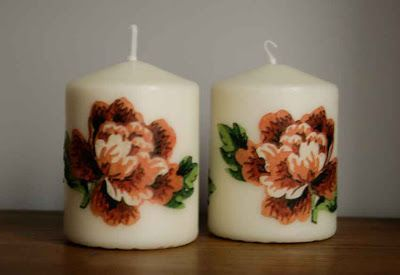 Decoupage candles with flowers / Handmade by Taja