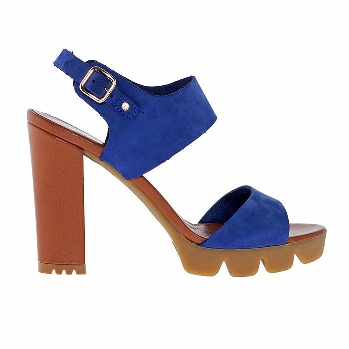 850T01_BLUE SUEDE www.mourtzi.com #mourtzi #blueshoes #sandals #thickheels #shoes #sportychic