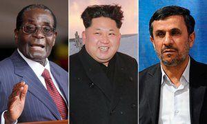 Robert Mugabe, Kim Jong-Un and Mahmoud Ahmadinejad.
