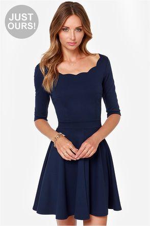 Cute Navy Blue Dress - Scalloped Dress - Skater Dress - $46.00