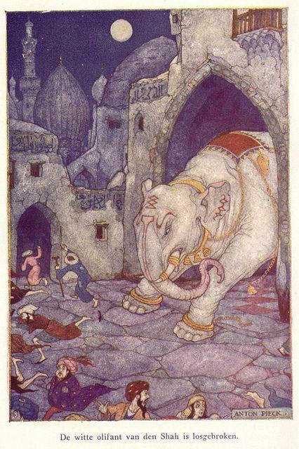 """""""De witte olifant van den Shah is losgebroken."""" Anton Pieck-illustratie bij het verhaal Rustem, uit Helden der Menschheid (F. Sjoerds)"""