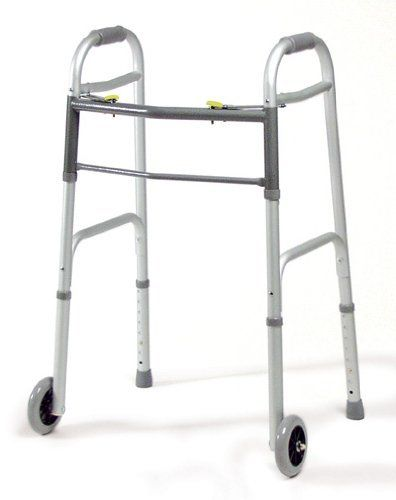 "Lumex Dual Release Folding Walkers with 3"" Fixed Wheels, Adult, Each by Graham Field. $30.00"