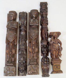 Carved oak figurative mouldings, originally from Cornelius Vanderbilt 11 Gilded Age NYC Mansion, at 1 West 57th St. ~ Mansion built in c.1883, demolished in c.1927.