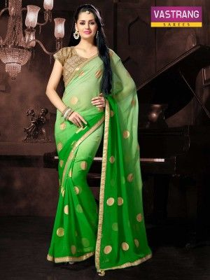 Vastrang Green faux georgette saree with embroidery work & Heavy blouse