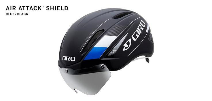 Giro Air Attack Aero Helmet (BLUE BLACK SHIELD), more compact design for 2013.