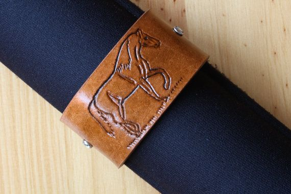 Hand Carved Leather Crystal Bracelet by Tina's Leather Crafts on Etsy.com.  Repin To Remember.