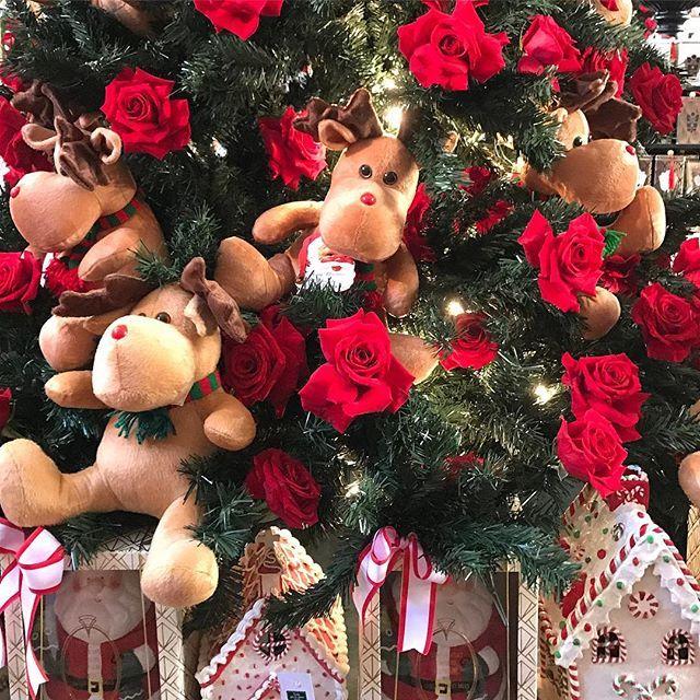 Árvores de Natal cobertas por rosas vermelhas e divertidos alces na linda decoração de @marcelofranchello para o Natal de @isabellasuplicyofficial  #natal #christmasdecor #christmasspirit #christmasmood #christmasiscoming #latabledegiselle #natalisabellasuplicy
