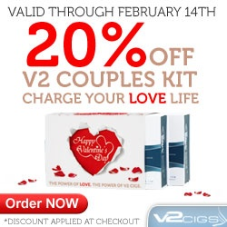 Special Valentine Sale from V2 Cigs. V2 Cigs Couples Kit reduced 20% plus use #coupon #SOFLA15 and get this special kit for $85 #FREE Shipping #eCigs #eCigarettes Cigarrillos Electronicos #eLiquid #Valentines #Discount