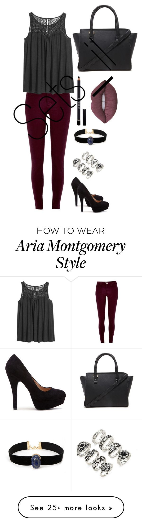 """Aria Montgomery inspired outfit"" by ellamendallas on Polyvore featuring River Island, H&M, Forever 21, Givenchy and Lime Crime"